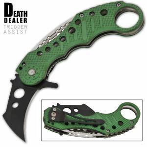New Green Death Dealer Spring Assisted Opening Pocket Knife