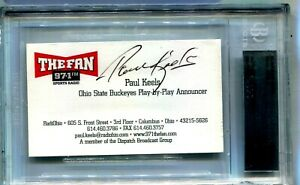 BUSINESS CARD SIGNED, PAUL KEELS, VOICE OF OHIO STATE FOOTBALL, NCAA FOOTBALL