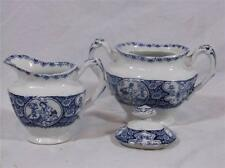 Wood and Sons Enoch China Budda pattern Sugar Bowl & Creamer England blue son