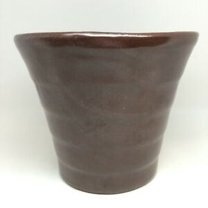 """Bauer Maroon Flower Pot Signed Bauer Los Angeles Ring Step Base 5-3/8"""" Tall"""