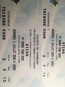 2 Places Concert Sting 01/07/20 Château Chambord (Reporté 01/07/2021)