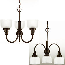 Venetian Bronze Archie 3-Light Inverted Chandelier with Prismatic Glass Shades