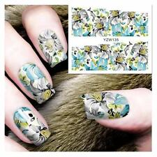 Beautiful Blue Flower Nail Art Sticker Decal Decoration Manicure Water Transfer