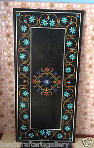 4'x2' Marble Dining Table Top Turquoise Multi Mosaic Gemstone Inlay Decors H2393