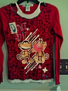 NWT Bobby Jack girls faux layered LS top red w/monkey blowing bubble Lg (14-16)