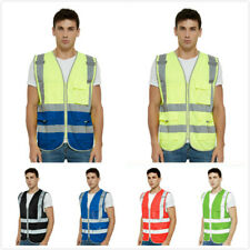 Toptie 9 Pockets High Visibility Zipper Front Safety Vest With Reflective Strips