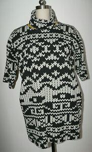 Women's Cop. Copine Size Small Black & White Geometric Print Turtleneck Dress