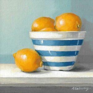 Limited Edition Giclee Print Still Life Lemons and Cornishware Bowl
