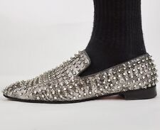 Mens sz 46 /13 Christian Louboutin studded silver loafers shoes metallic slip on