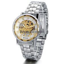 Skeleton Dial Stainless Steel Strap Hand-Wind Mechanical Men's Wrist Watch