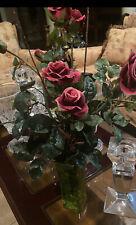 Artificial Red Roses Romantic Flower Arrangement in PERMANENT WATER Glass Vase