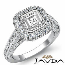 Bezel Set Asscher Diamond Engagement Ring EGL G Color VS1 14k White Gold 2.25 ct
