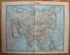 Asien Gesamt - Original-Lithographie - Alte Landkarte von 1868