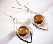Tiger Eye Earrings 925 Sterling Silver Sphere Inside Arcs Dangle Drop 8ct New