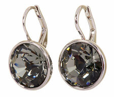 Swarovski Elements Crystal Black Diamond Bella Pierced Earrings Rhodium 7171x