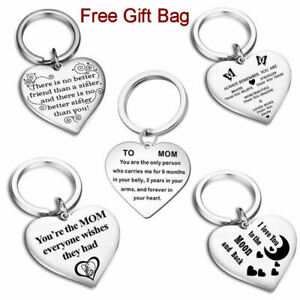 Family Personalised Keyring Christmas Gift Heart Special Mom Sister Friend UK