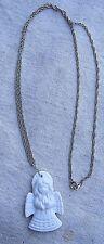 Guardian Angel Pendant Necklace,white porcelain,vintage 1980s,silver chain