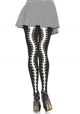 Gothic Strumpfhosen schwarz weiß knochen wirbelsäule halloween B027