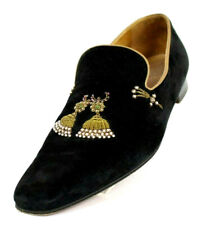 CHRISTIAN LOUBOUTIN Black Suede Pearl Beaded Tassel MIKARAJA  Loafers 44.5