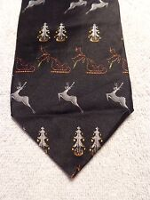 """STRUCTURE MENS TIE BLACK WITH REINDEER AND CHRISTMAS TREES NWT 3.75"""" X 59"""