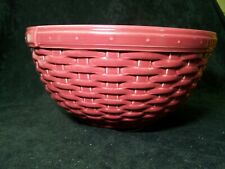 Longaberger Pottery Woven Reflections Serving Bowl Basket Weave