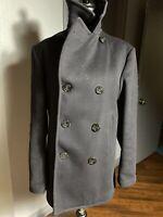 vintage US NAVY 1970 Vietnam 100% WOOL Kersey Pembroke Peacoat Overcoat