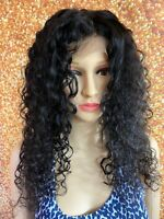18 INCH HUMAN HAIR LACE FRONT CLOSURE WIG BRAZILIAN REMY SPANISH DEEP CURLY LONG