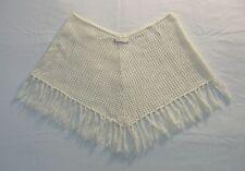 Women's DKNY Jeans Knit Poncho Shawl Cape Size Small Cream Cotton w/ Tassels