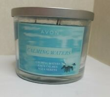 AVON 3-WICK CANDLE 11 OZ CALMING WATERS - Light Blue color - New