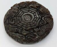 Vintage Antique Jade Necklace Pendant Carved Orange Round 27 Grams
