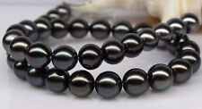 """HUGE 18""""11-12MM NATURAL SOUTH SEA GENUINE  BLACK PERFECT ROUND PEARL NECKLACE"""