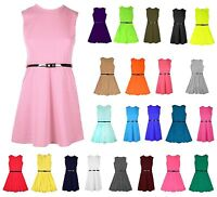 Girls Skater Kids Sleeveless Party Fit Flare Belted Summer Dress Ages 3-14 Years