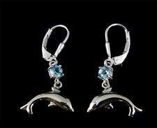 GENUINE BLUE TOPAZ SILVER 925 HAWAIIAN DOLPHIN DANGLE LEVERBACK EARRINGS