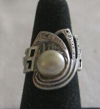 Vintage 1934 WORLD'S FAIR Century of Progress SOUVENIR Silver RING w/faux pearl