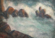 1968 LARGE IMPRESSIONIST WATERCOLOR PAINTING SEASCAPE SIGNED