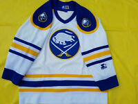 Buffalo Sabres Jersey Mens Large retro Starter white swords blue shoulders NHL