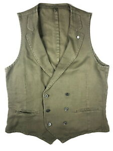 LBM 1911 Vest Large/52 Light olive green Linen/Cotton