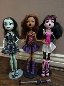 💀Monster High⭐RARE FIRST WAVE⭐Draculaura Frankie Clawdeen doll bundle
