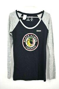 CCM Womens NHL Chicago Blackhawks Long Sleeve Scoop Neck Shirt Cotton Sz M