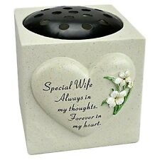 Special Wife Lily Heart Memorial Graveside Rose Bowl Decor Grave Vase Ornament