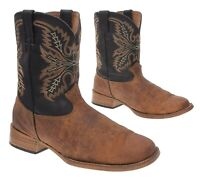 JUSTIN Cowboy Boots 6 D Mens Brown Oiled Leather Western Roper Boots Motorcycle