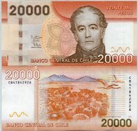 CHILE 20,000 20000 PESOS 2014 P 165 NEW DATE NO TRIANGLE AT BACK UNC