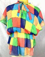 Bobbie June Vintage Sheer Rainbow Festival Summer Blouse Top