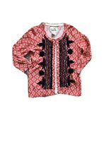 Tabitha Women's S Coral White Navy Embroidered Button Front Cardigan