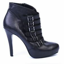 ASH Ankle Boots Black Leather Buckle Detail Size 37 / UK 4 DL 109