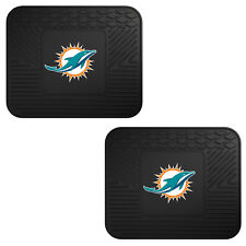 NFL Miami Dolphins Car Truck 2 Back Utility All Weather Rubber Floor Mats