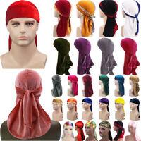 Men Womens Breathable Bandana Hat Gold Velvet Durag Long Tail Headwrap Chemo Cap