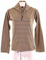 ARMANI JEANS Womens Top Long Sleeve UK 12 Medium Khaki Striped Cotton  NE16