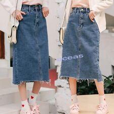 Women's Girls Denim High Waist A-Line Jean Skirts Casual OL Long Dress Midiskirt