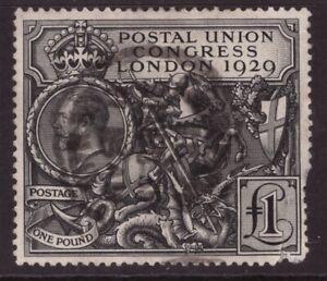 King George V 1929 PUC £1 pound SG 438 Nice used, faulty corner